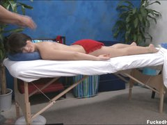 Masseur uses no thing but his hands to give pleasure to naked enchanting brunette Ashlyn for a start. She's a long legged girl that gets completely naked for massage and pleasure.