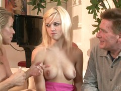 Golden-haired haired cutie Kyle Stone with juicy natural boobs gets seduced by mature couple Nicki Charm and Lacey Leveah. She's the babysitter and they have sex fun with her.