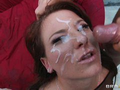 Casey Cumz gets her face saturated with warm cum