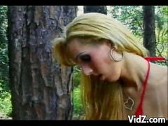 That babe wanders the woods in search of hot, studly men to fuck. Watch this sexy ladyman slut as she sweet talks her way to some cock, sucking this guy's hard pole and getting her own wad sucked on. Witness them then give each other a ribald ass rimming
