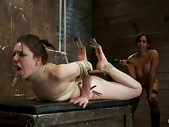 busty brunette fucking a bound chick hard