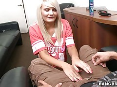 horny blond giving a guy a handjob