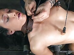getting her bawdy cleft wet in a bdsm session