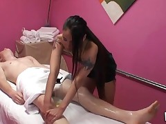 Gentle handjob and oral sex performed during massage