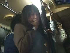 Shy Asian school cutie gets fondled on the train then fucked at home