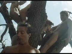Retro engulf and fuck fuckfest outdoors in a tree