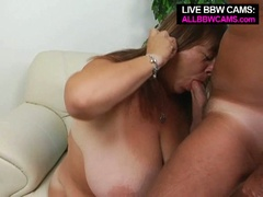 Older bbw enjoys tit fucking and opens greasy cunt for pounding