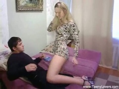 Blonde legal age teenager sucks and bonks in high heels