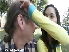 Cute Young Brunette hair Flirts With A Grandpa