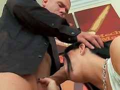 Horny guy Mick Blue unbuttons his jeans and gives a chance to adorable nympho Loni Evans to suck his dong