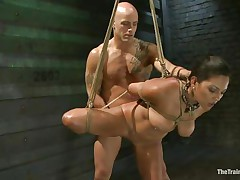 Such a cutie needs a hard fuck and some humiliation and that is exactly what the bald man gives helped by his buddy. He fucks her vagina from behind and then grabs her mouth so this babe would pay attention on what he says. Seeing her dominated really makes you thinking if this babe will behave from now on.