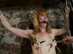 She is about to receive a harsh punishment that will satisfy her lust for pain. The executor inserts a device in her mouth and puts laundry pliers on those cute small tits, inducing her all the pain this babe needs to be satisfied. The weight is pulling her down but she's tied and slowly, her pussy gets ready to be fucked.