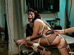 hot brunette milf bound up in bondage