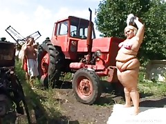 fat blonde farmgirl has threesome