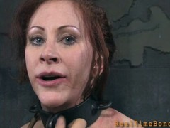 Gagged and fastened up honey is whipped ferociously