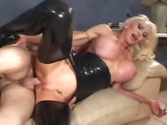 Huge titty slut in darksome latex fucked