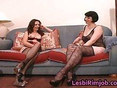 Super horny lesbian ass licking