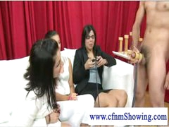 Cfnm ladies loving some cock stroking act