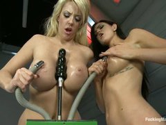 Two well stacked lesbian beauties Courtney Taylor and Kendall Karson give new fucking machines a try. They receive their juicy oiled big tits and twats banged and vibrated by excellent sex machines.