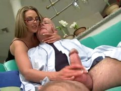 Super hot hotty in glasses fucked by chubby old dude