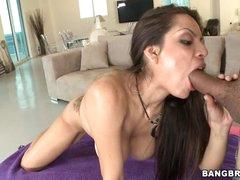 Yurizan Beltran shoves a stiff weenie down her throat