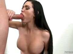 Large titty cutie sucks on a big cock