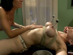 Dark haired milf Annika with huge tits gets tied up and tortured by 2 unmerciful women Gia Dimarco and Asphyxia Noir. They use strapon to fuck her ass.