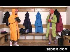 Femdom boxer nubiles share slender dude's big hard dick