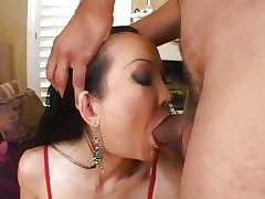 Sassy Ange Venus receives her moist throat hammered
