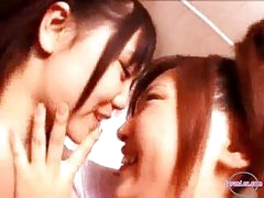 2 Girls In Aerobic Dress Kissing Rubbing Tits In The Bathroom