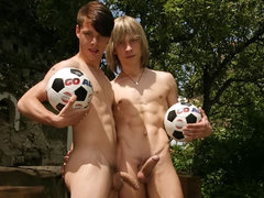 Two young soccer player suck and fuck on the green grass!