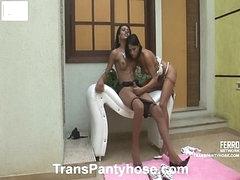 Luana&Claudio shemale pantyhose action