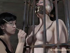 Yeah bitch, you deserve this punishment. You thought that anything needs to be your way and always had lack of respect. Let's see you in that cage how punk you are now. It's a bit humiliating for such a bad ass girl like you to be caged, tied and pussy rubbed isn't it? Stay there and shut the fuck up.