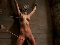 See this slut as she is tied on the wall and has a bag on her head. This babe is suffocating slowly and to increase the pleasure of being dominated they punish her sexy body by spanking her on the hips and stomach with a stick. After spanking she receives a vibrator on her wet crack and moans with pleasure and pain. She's so sexy with these clamps on her hard nipples and, will they add more weights?