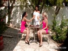 Three lesbian honeys have hot romantic action in the garden