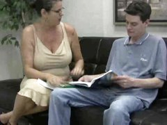 Busty mom in glasses gives handy to legal age teenager guy