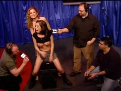 Schoolgirl sweetheart rides Sybian on Howard Stern show