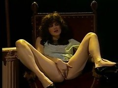 Vintage voyeur scene of a classic lady teasing her furry muff