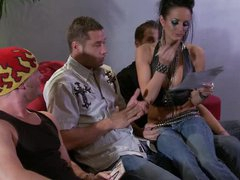 Moody Punk Angel Alektra Blue Gives Hot Blowjobs and Gets a Bukkake