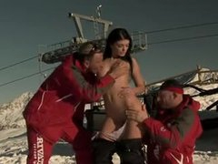 Slutty snow bunny spit roasted on the mountain