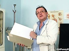 Hairy cum-hole grandma visits pervy woman doctor