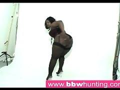 Hawt ebony BBW teasing a large gazoo lover