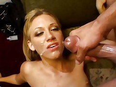 Tina Fine gets her face sprayed with hot dick juice