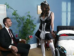 hot brunette wet pussy unfathomable fucked by her boss