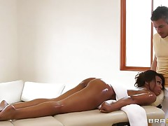 hot black babe getting a massage