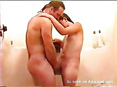 wild fuck in the shower with wife