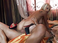 horny blonde gets a big cock inside her pussy