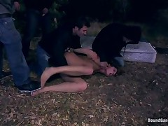 cute girl gangbanged by 3 males outdoor