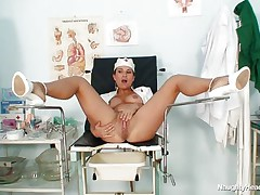 naughty horny nurse shows us her cunt