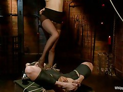 tied blonde milf dominated and face fucked by her mistress